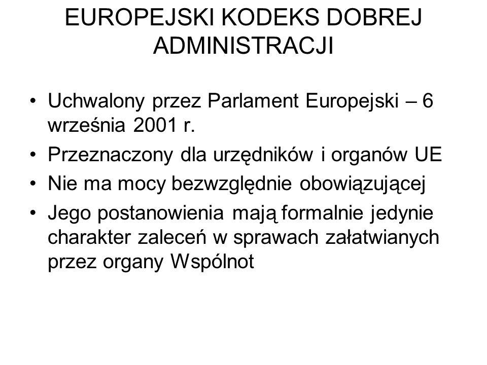 EUROPEJSKI KODEKS DOBREJ ADMINISTRACJI