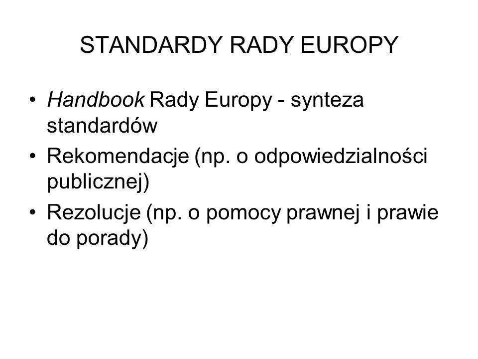 STANDARDY RADY EUROPY Handbook Rady Europy - synteza standardów