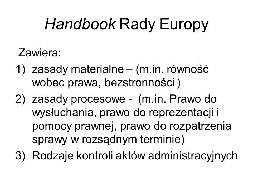 Handbook Rady Europy Zawiera: