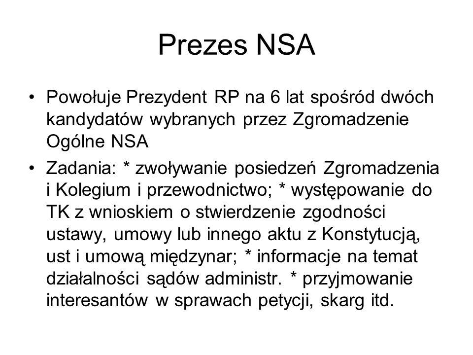 Prezes NSA Powołuje Prezydent RP na 6 lat spośród dwóch kandydatów wybranych przez Zgromadzenie Ogólne NSA.