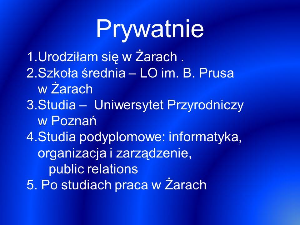 Prywatnie Urodziłam się w Żarach .
