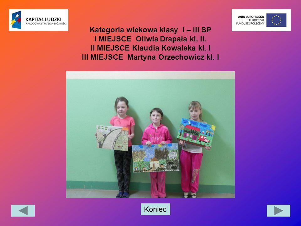 Kategoria wiekowa klasy I – III SP I MIEJSCE Oliwia Drapała kl. II