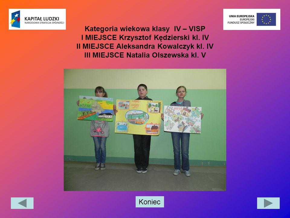Kategoria wiekowa klasy IV – VISP I MIEJSCE Krzysztof Kędzierski kl