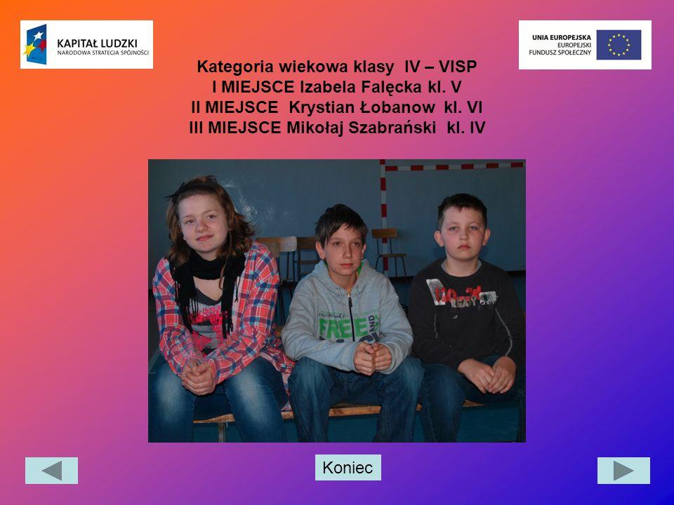 Kategoria wiekowa klasy IV – VISP I MIEJSCE Izabela Falęcka kl