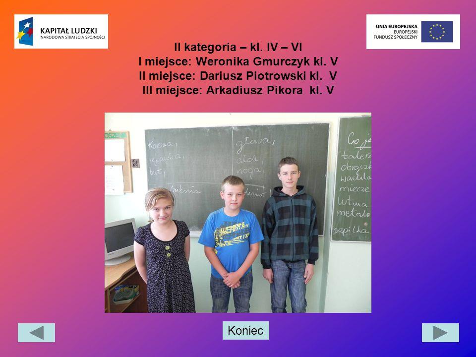 II kategoria – kl. IV – VI I miejsce: Weronika Gmurczyk kl