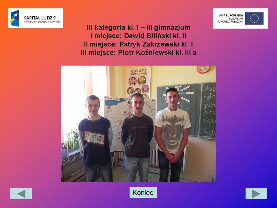 III kategoria kl. I – III gimnazjum I miejsce: Dawid Biliński kl