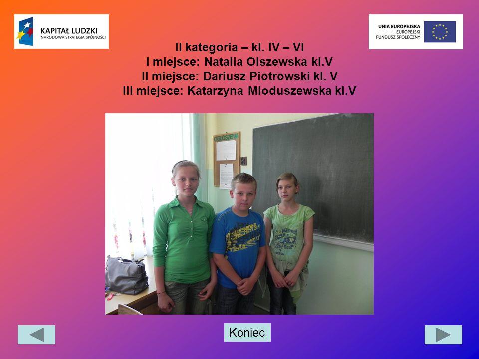 II kategoria – kl. IV – VI I miejsce: Natalia Olszewska kl