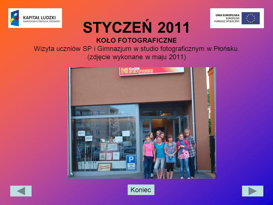 STYCZEŃ 2011 KOŁO FOTOGRAFICZNE Wizyta uczniów SP i Gimnazjum w studio fotograficznym w Płońsku.
