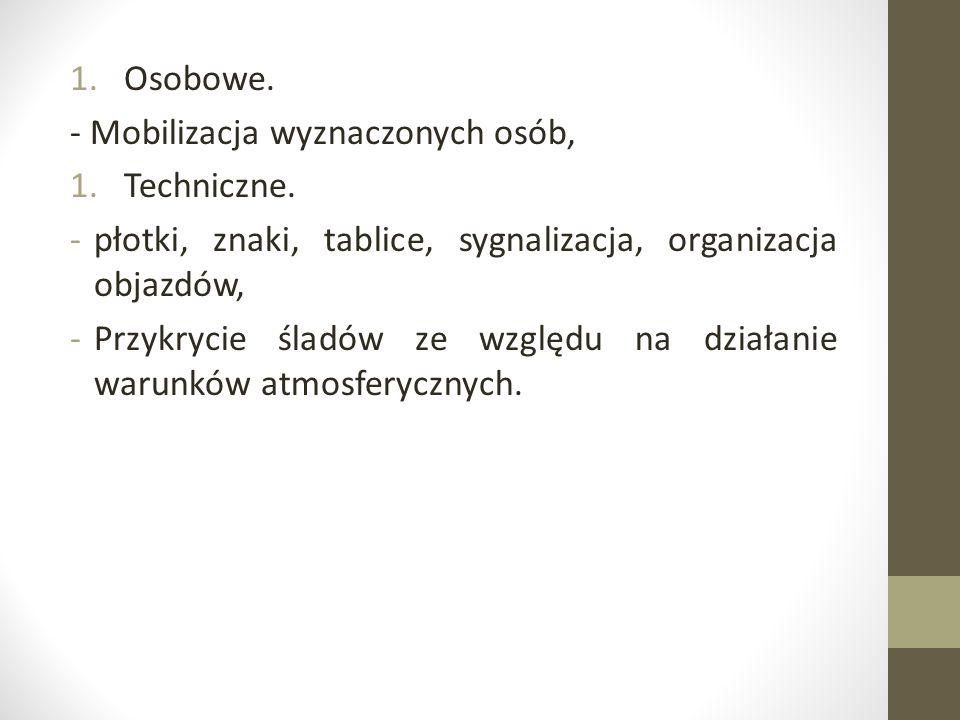 Osobowe. - Mobilizacja wyznaczonych osób, Techniczne. płotki, znaki, tablice, sygnalizacja, organizacja objazdów,