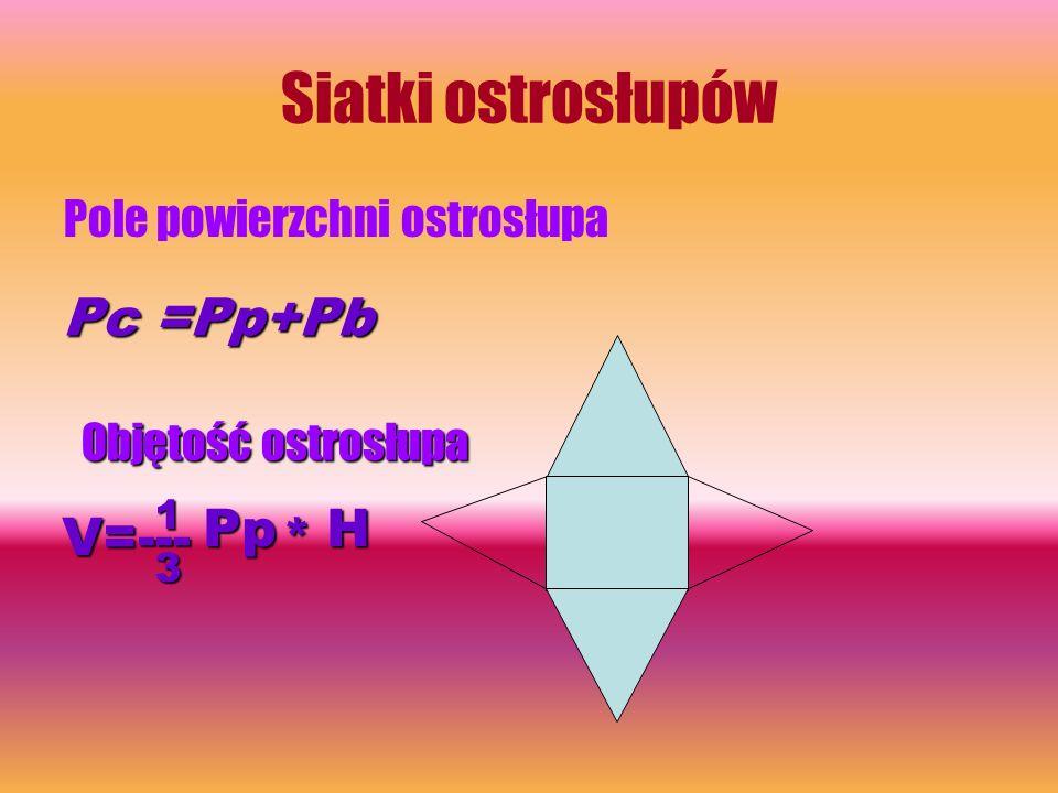 Siatki ostrosłupów Pc =Pp+Pb V=--- Pp * H Pole powierzchni ostrosłupa