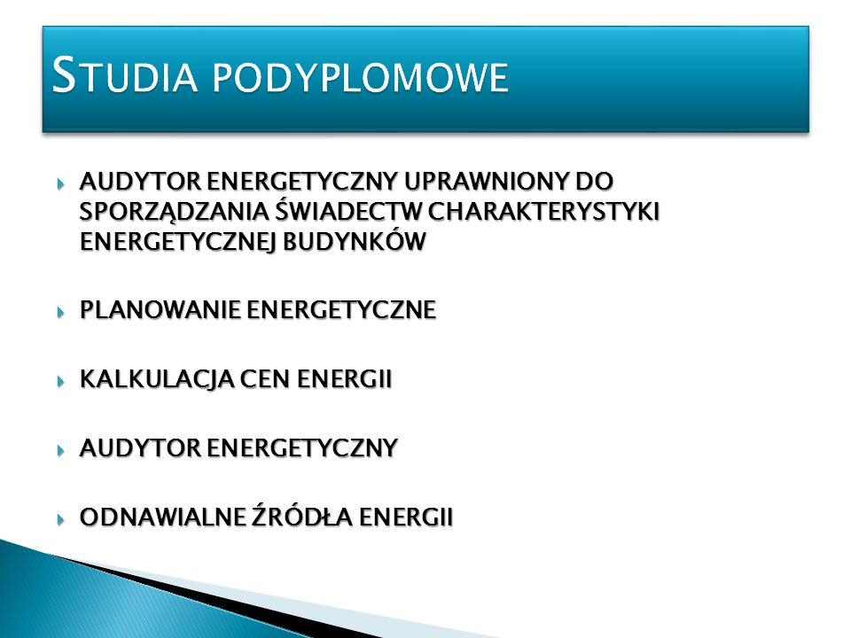 Studia podyplomoweAUDYTOR ENERGETYCZNY UPRAWNIONY DO SPORZĄDZANIA ŚWIADECTW CHARAKTERYSTYKI ENERGETYCZNEJ BUDYNKÓW.
