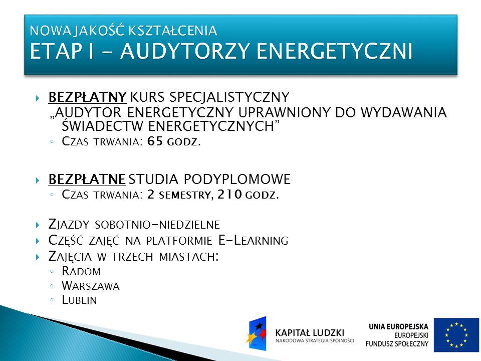 Nowa jakość kształcenia Etap I - audytorzy energetyczni