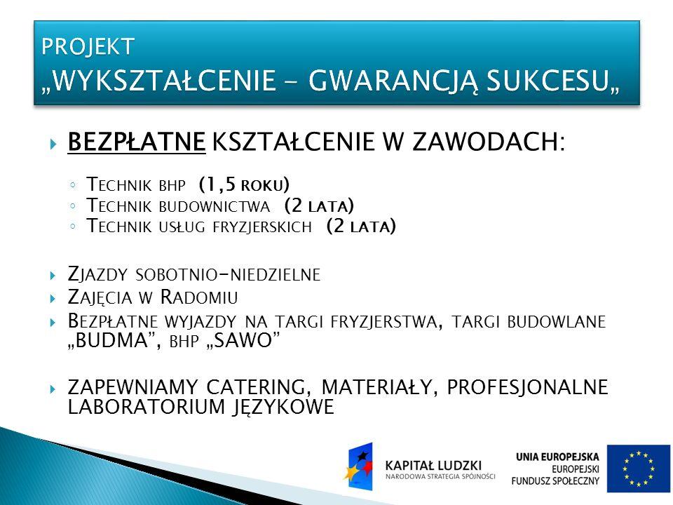 """PROJEKT """"Wykształcenie - gwarancją sukcesu"""""""