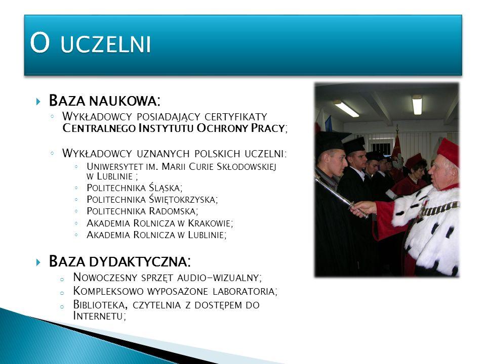 O uczelni Baza naukowa: Baza dydaktyczna: