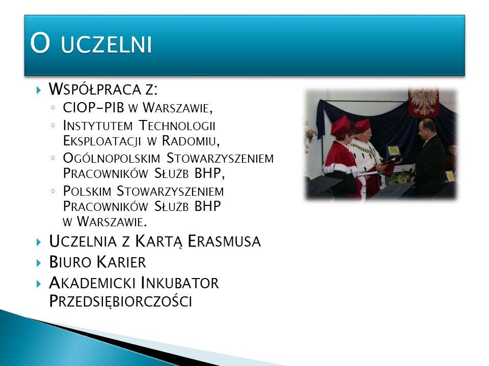 O uczelni Współpraca z: Uczelnia z Kartą Erasmusa Biuro Karier