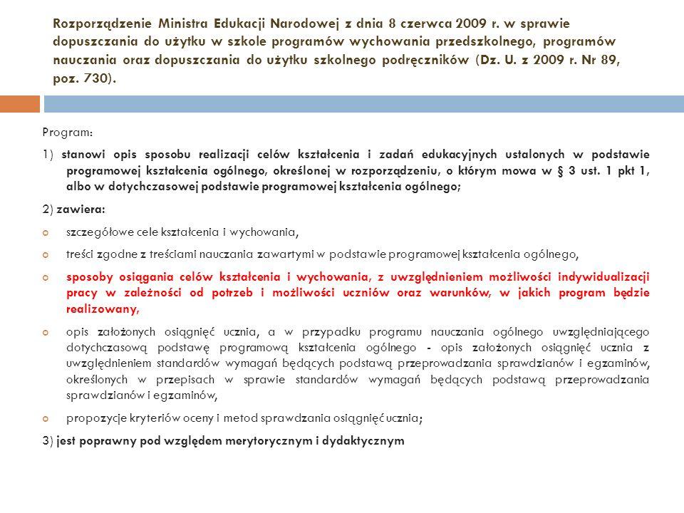 Rozporządzenie Ministra Edukacji Narodowej z dnia 8 czerwca 2009 r