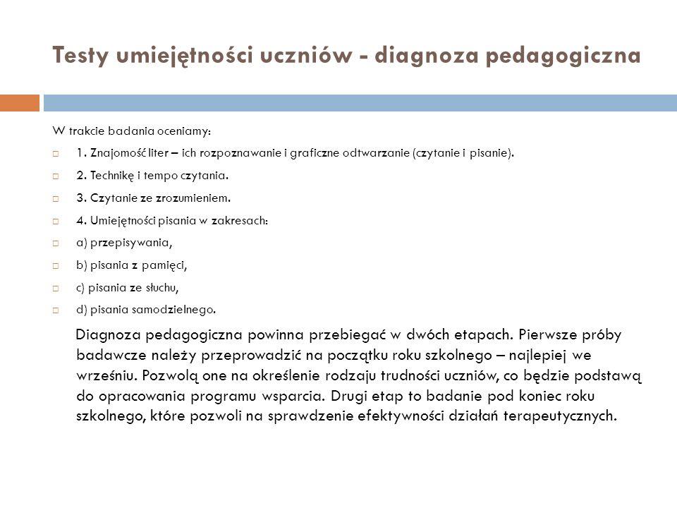 Testy umiejętności uczniów - diagnoza pedagogiczna