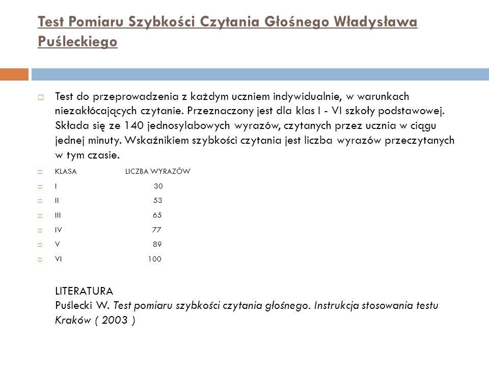 Test Pomiaru Szybkości Czytania Głośnego Władysława Puśleckiego