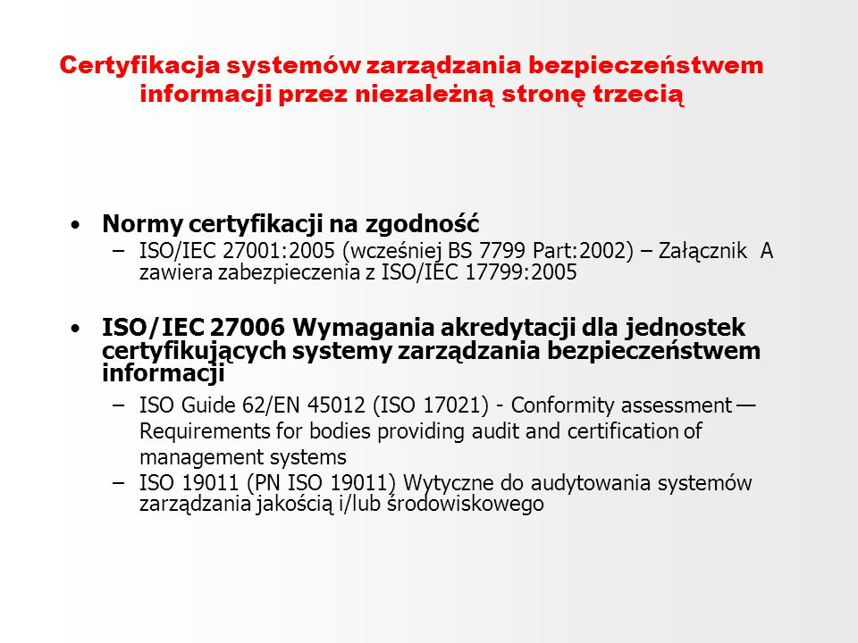Normy certyfikacji na zgodność