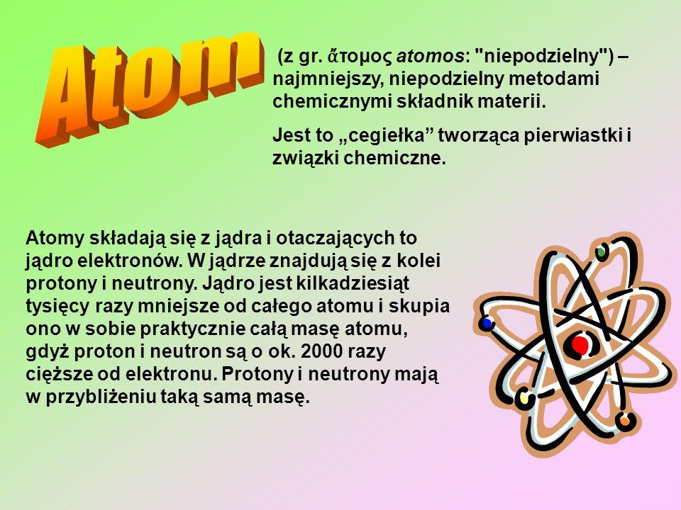 Atom(z gr. ἄτομος atomos: niepodzielny ) – najmniejszy, niepodzielny metodami chemicznymi składnik materii.
