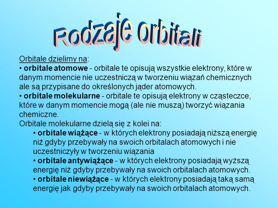 Rodzaje orbitali Orbitale dzielimy na: