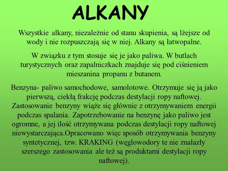 ALKANY Wszystkie alkany, niezależnie od stanu skupienia, są lżejsze od wody i nie rozpuszczają się w niej. Alkany są łatwopalne.