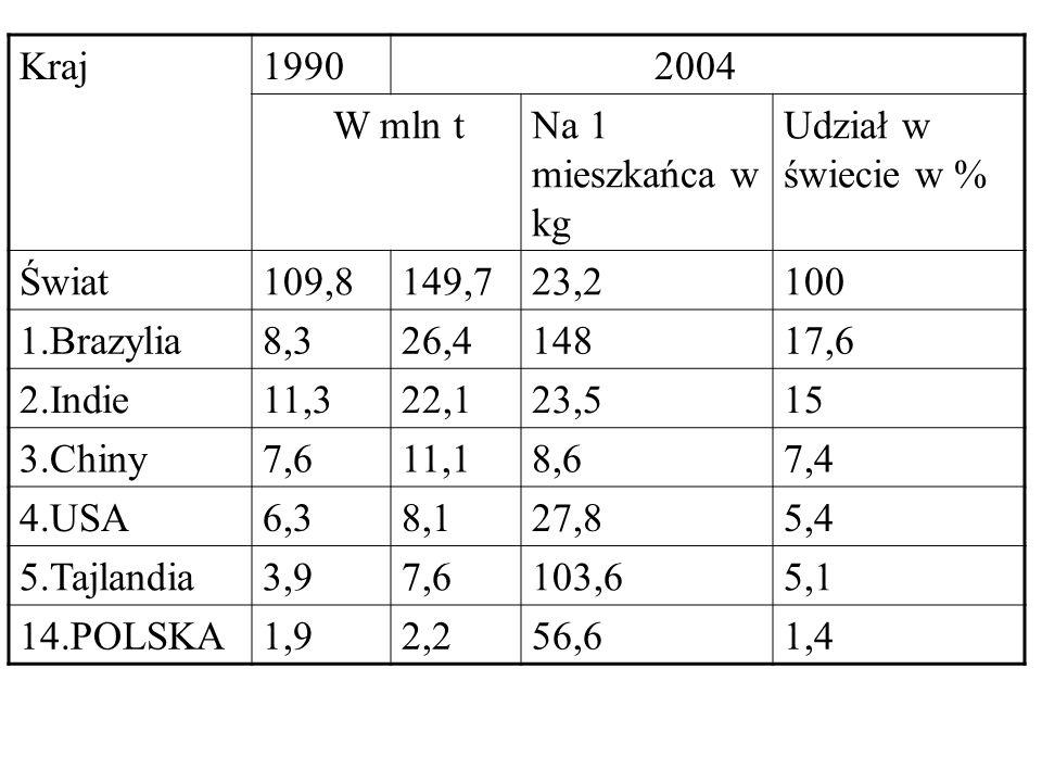 Kraj 1990. 2004. W mln t. Na 1 mieszkańca w kg. Udział w świecie w % Świat. 109,8. 149,7. 23,2.