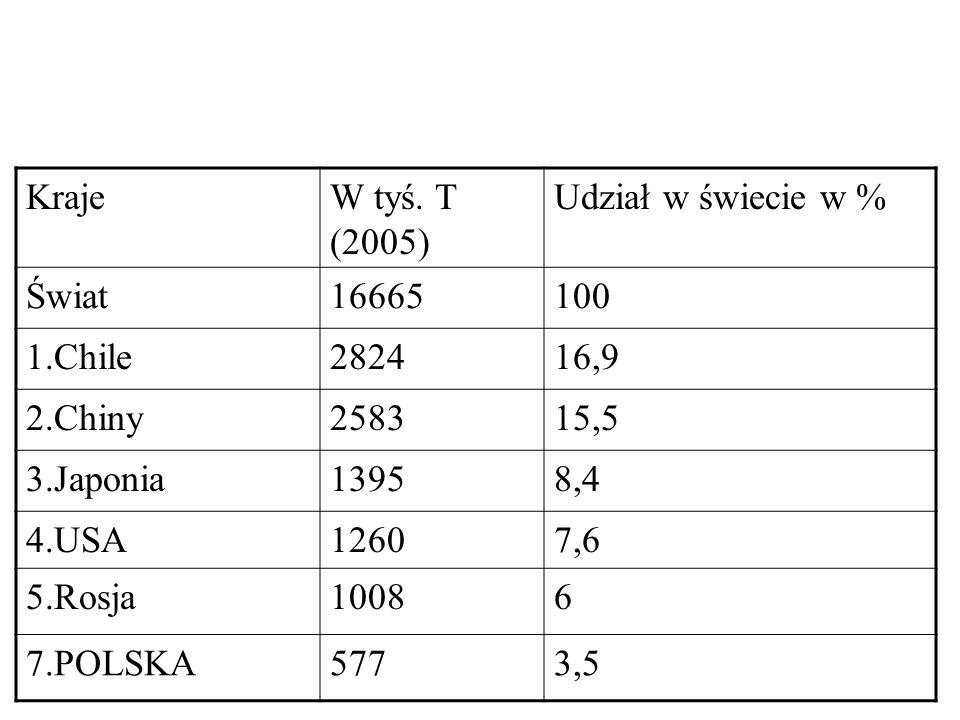 Kraje W tyś. T (2005) Udział w świecie w % Świat. 16665. 100. 1.Chile. 2824. 16,9. 2.Chiny.