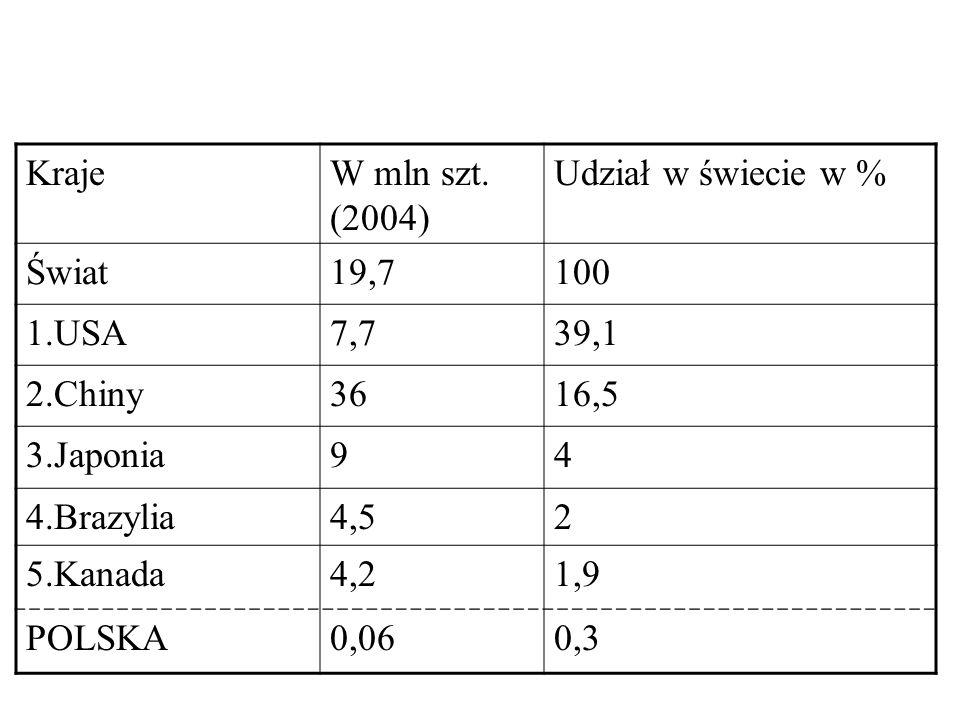 Kraje W mln szt. (2004) Udział w świecie w % Świat. 19,7. 100. 1.USA. 7,7. 39,1. 2.Chiny. 36.