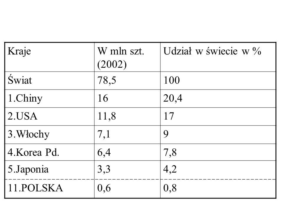 Kraje W mln szt. (2002) Udział w świecie w % Świat. 78,5. 100. 1.Chiny. 16. 20,4. 2.USA. 11,8.