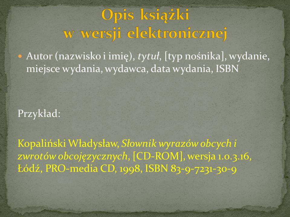 Opis książki w wersji elektronicznej