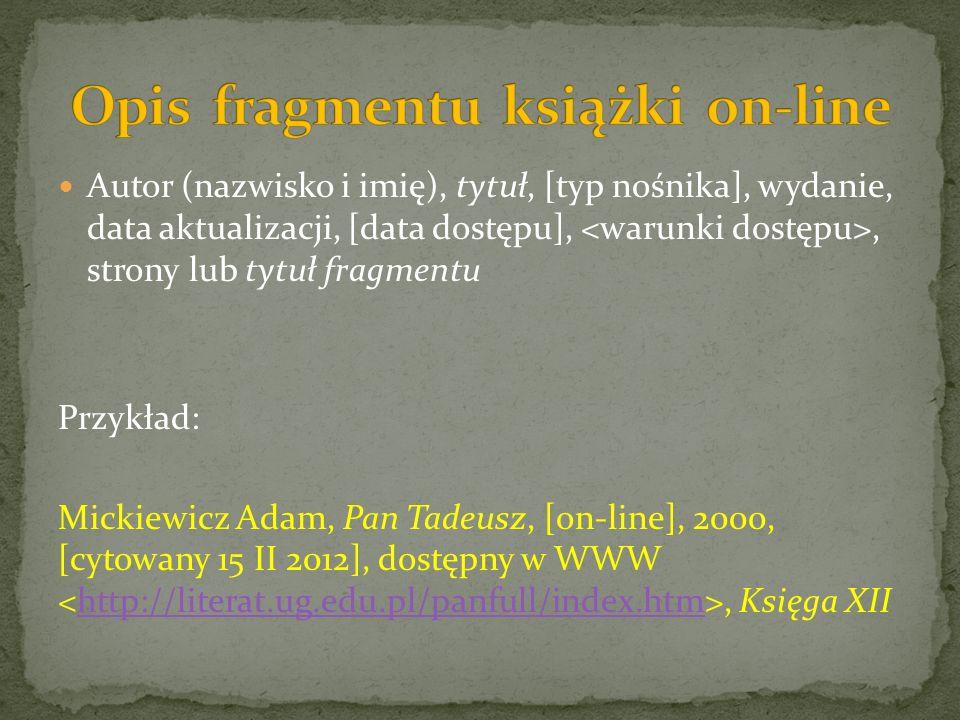 Opis fragmentu książki on-line