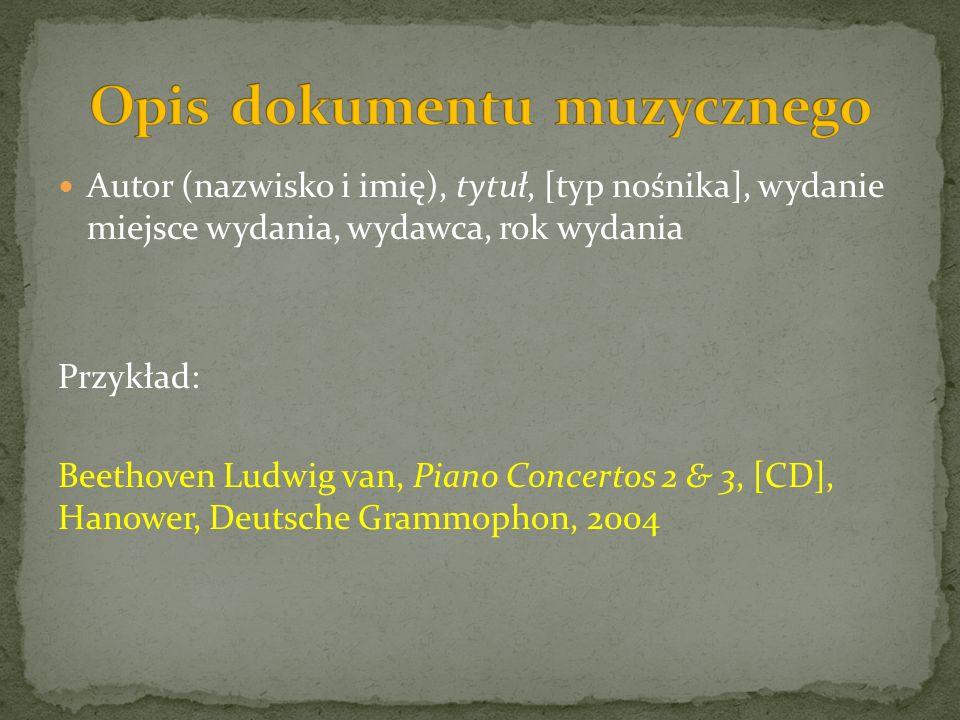 Opis dokumentu muzycznego