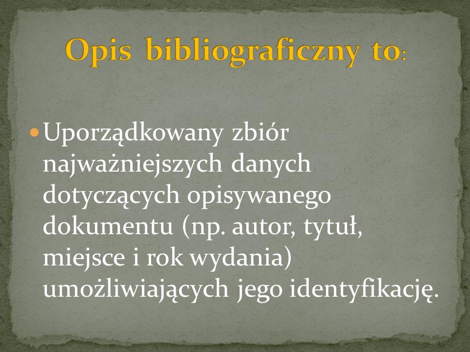 Opis bibliograficzny to: