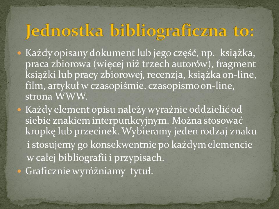 Jednostka bibliograficzna to: