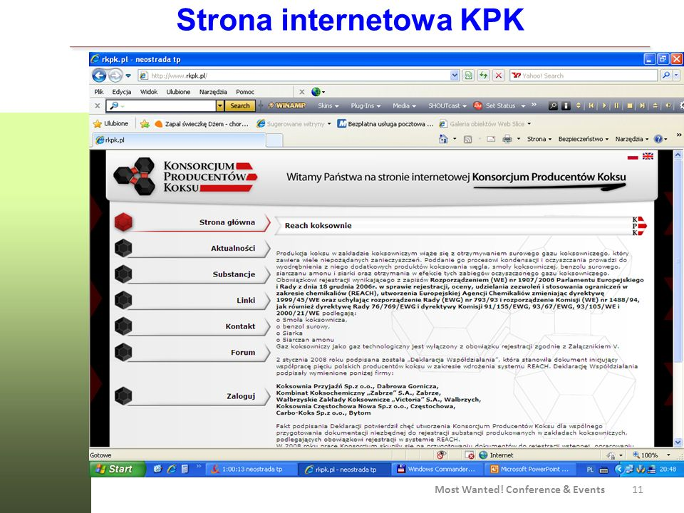 Strona internetowa KPK Most Wanted! Conference & Events