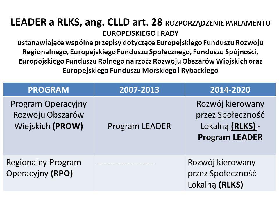 Podstawy wdrażania RLKS na poziomi e UE