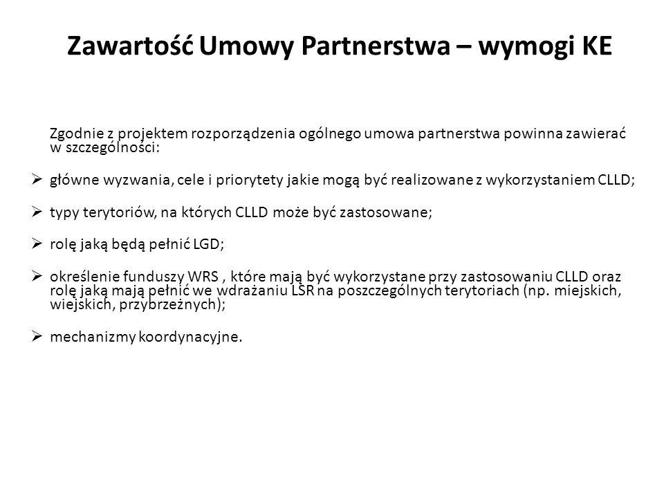 Zawartość Umowy Partnerstwa – wymogi KE