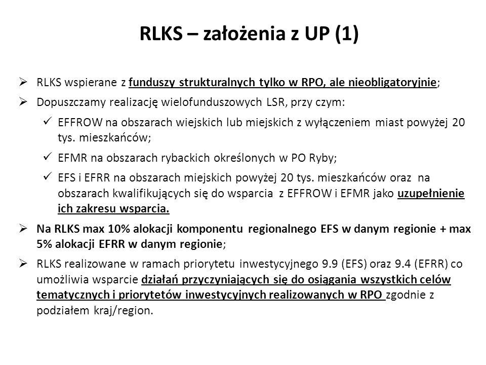 RLKS – założenia z UP (1) Typy terytoriów oraz fundusze EFSI