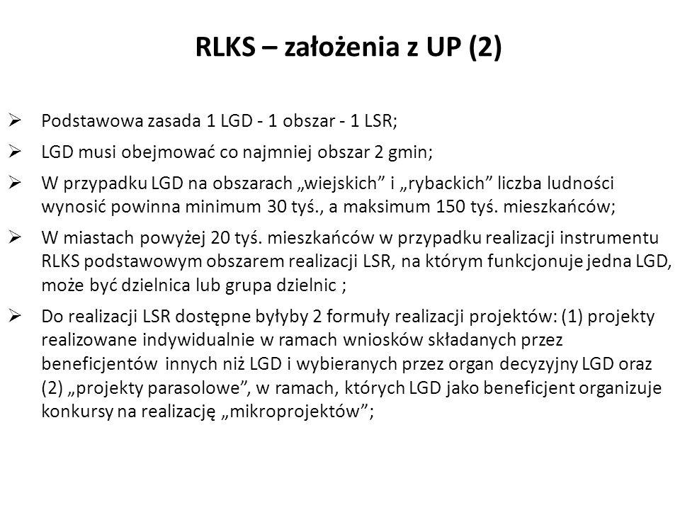 RLKS – założenia z UP (2) Podstawowa zasada 1 LGD - 1 obszar - 1 LSR;