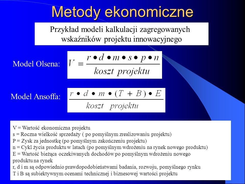 Metody ekonomiczne Przykład modeli kalkulacji zagregowanych
