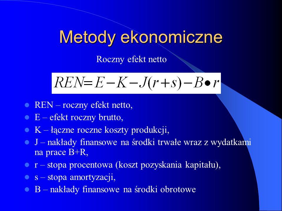 Metody ekonomiczne Roczny efekt netto REN – roczny efekt netto,