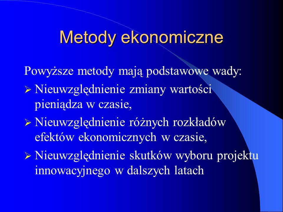 Metody ekonomiczne Powyższe metody mają podstawowe wady: