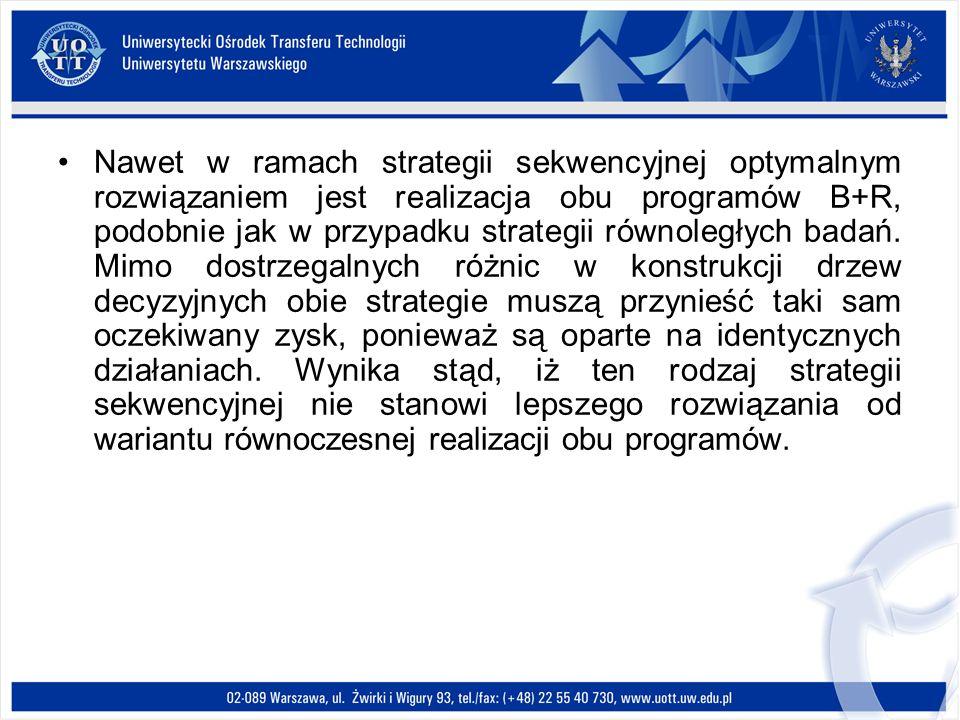 Nawet w ramach strategii sekwencyjnej optymalnym rozwiązaniem jest realizacja obu programów B+R, podobnie jak w przypadku strategii równoległych badań.