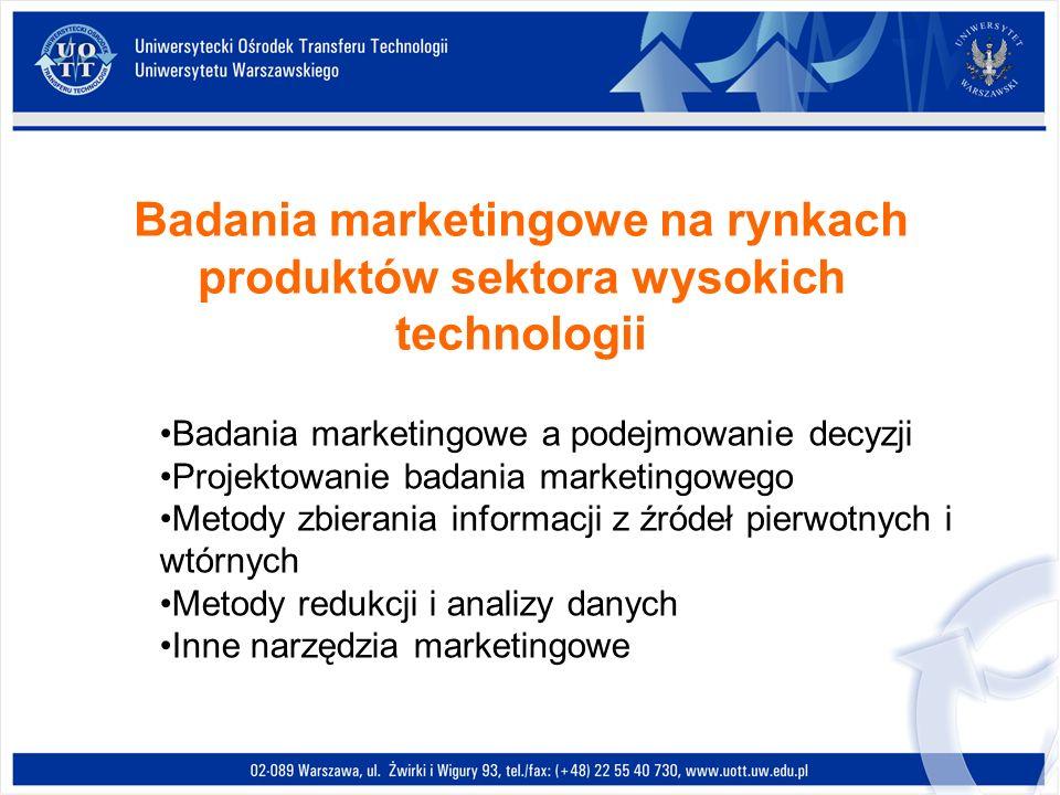 Badania marketingowe na rynkach produktów sektora wysokich technologii