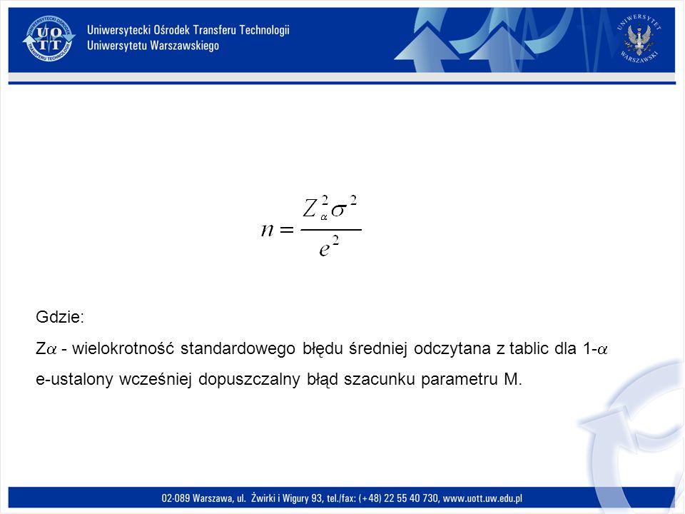 Gdzie: Z - wielokrotność standardowego błędu średniej odczytana z tablic dla 1- e-ustalony wcześniej dopuszczalny błąd szacunku parametru M.