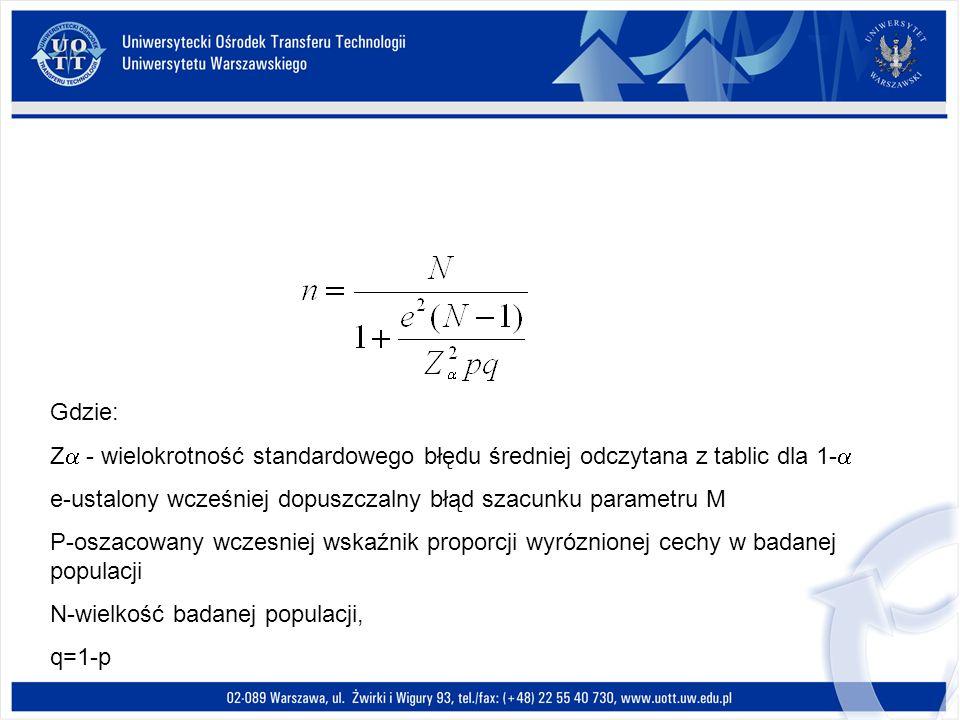 Gdzie:Z - wielokrotność standardowego błędu średniej odczytana z tablic dla 1- e-ustalony wcześniej dopuszczalny błąd szacunku parametru M.