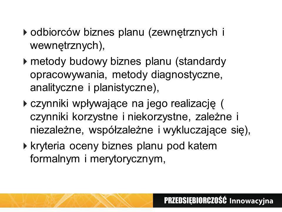 odbiorców biznes planu (zewnętrznych i wewnętrznych),