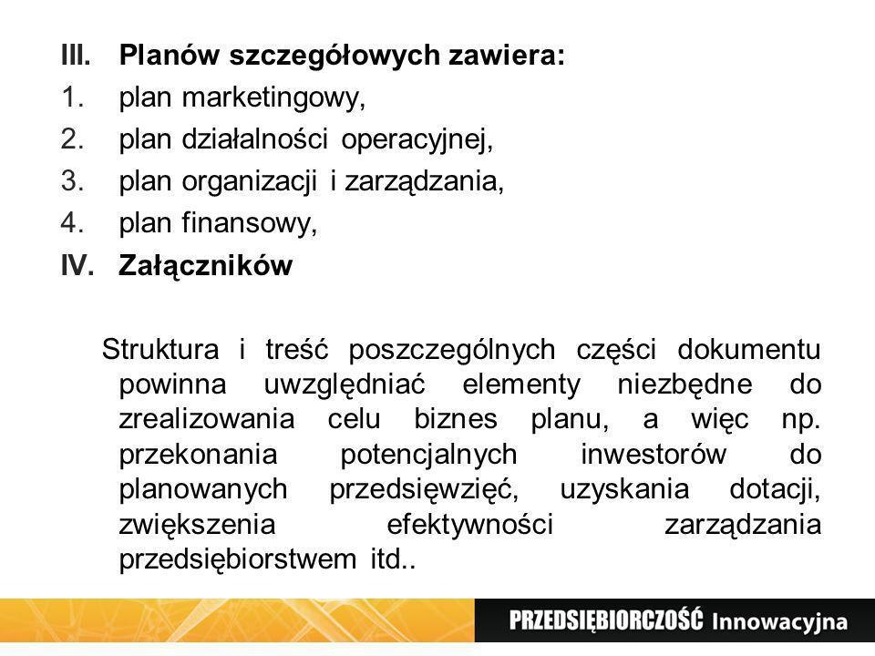 Planów szczegółowych zawiera: plan marketingowy,