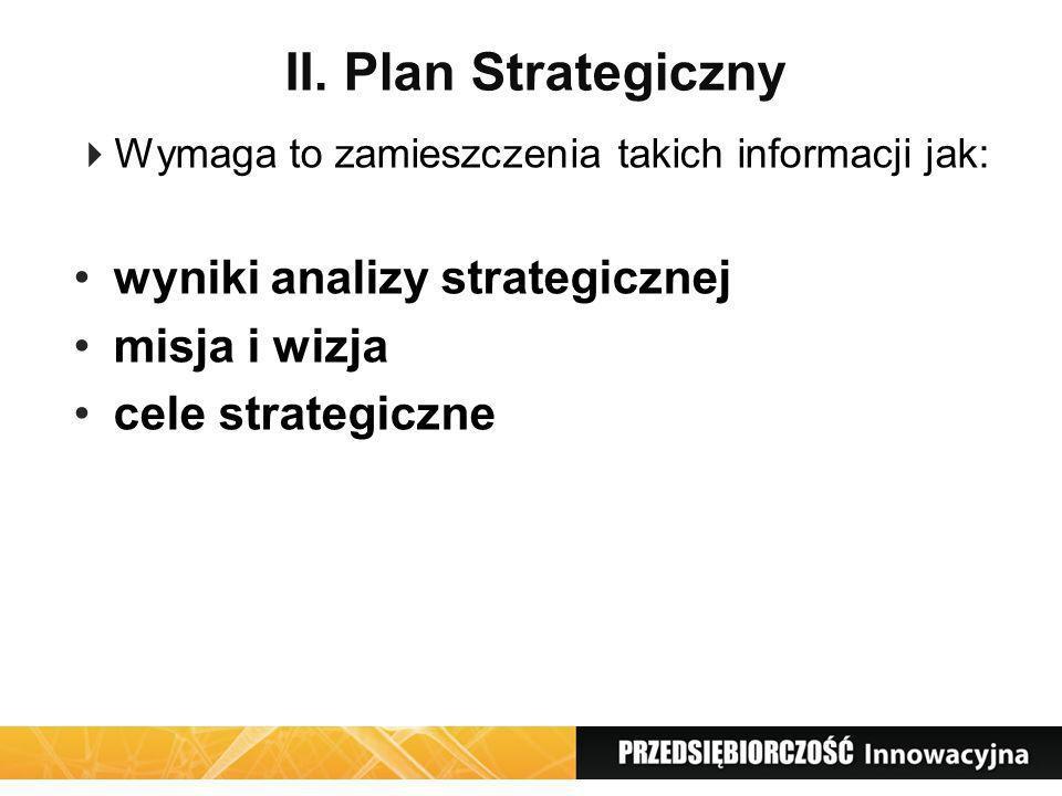 II. Plan Strategiczny wyniki analizy strategicznej misja i wizja
